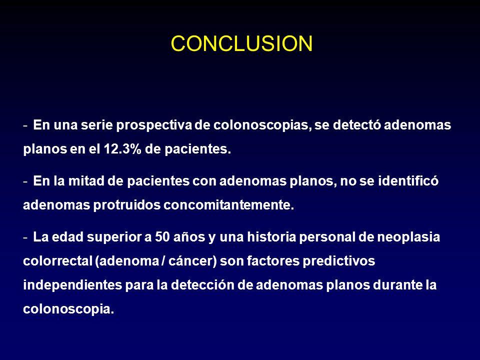 CONCLUSION En una serie prospectiva de colonoscopias, se detectó adenomas planos en el 12.3% de pacientes.