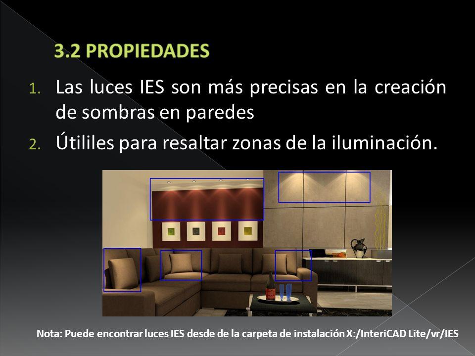 Las luces IES son más precisas en la creación de sombras en paredes