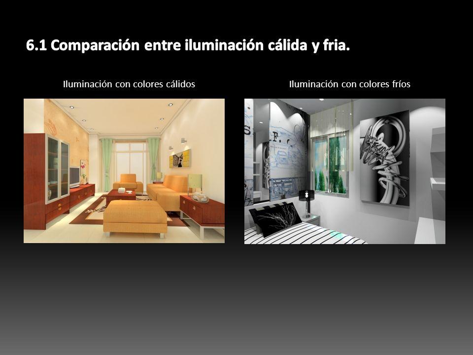 6.1 Comparación entre iluminación cálida y fria.