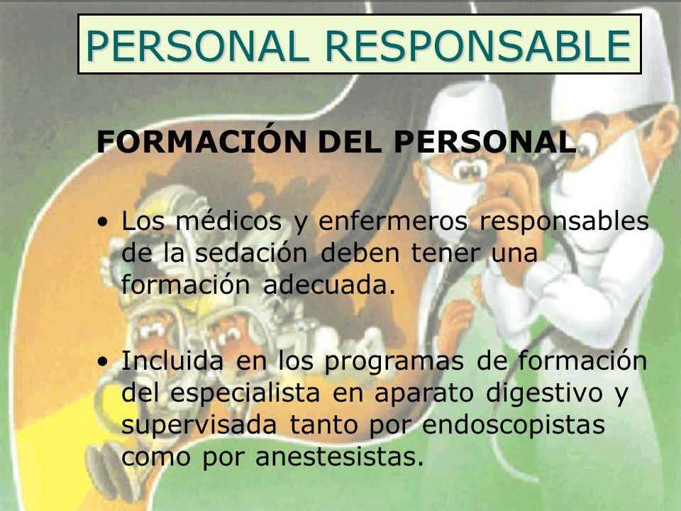 PERSONAL RESPONSABLE FORMACIÓN DEL PERSONAL