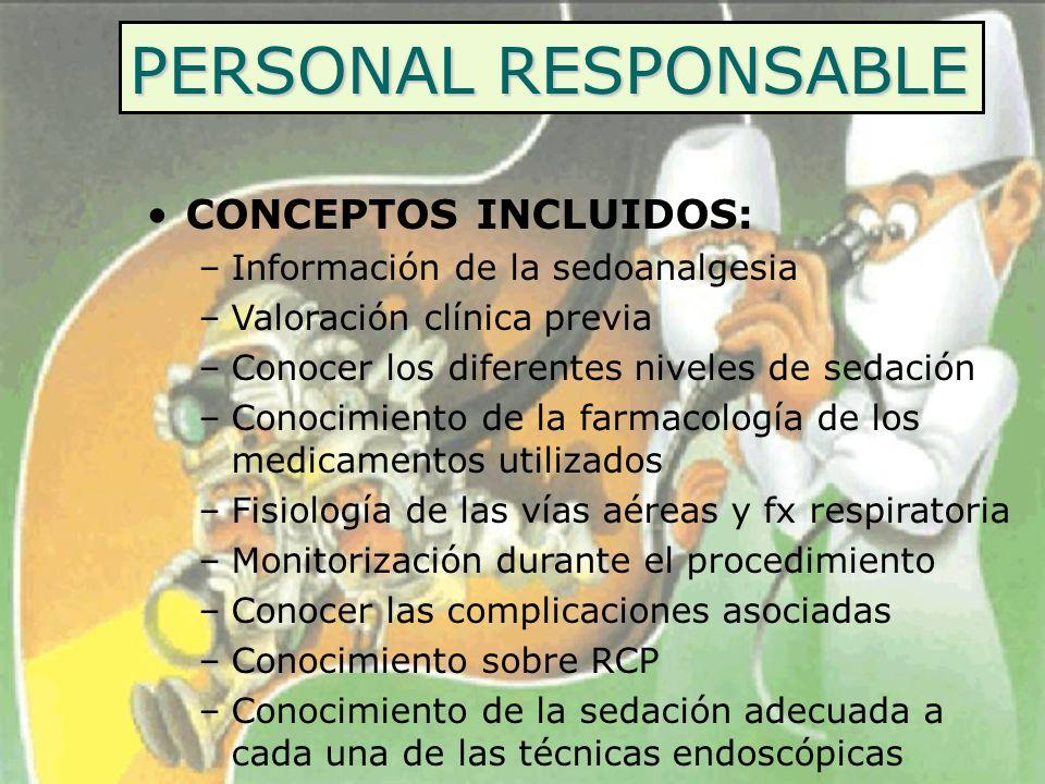 PERSONAL RESPONSABLE CONCEPTOS INCLUIDOS: