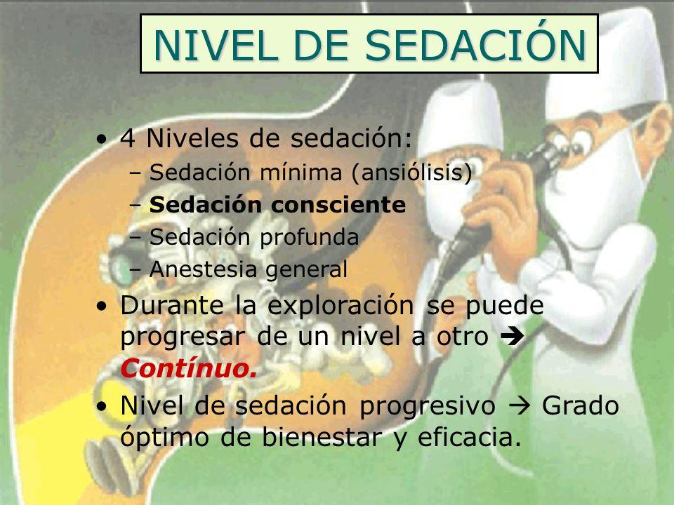 NIVEL DE SEDACIÓN 4 Niveles de sedación: