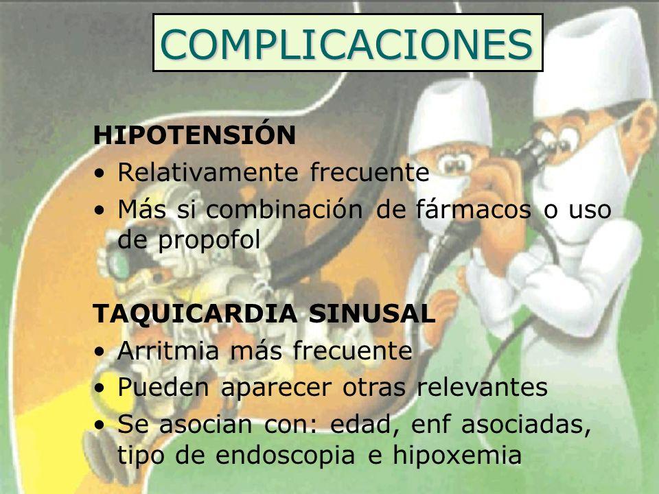 COMPLICACIONES HIPOTENSIÓN Relativamente frecuente