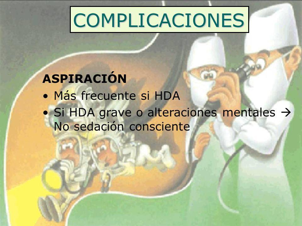 COMPLICACIONES ASPIRACIÓN Más frecuente si HDA