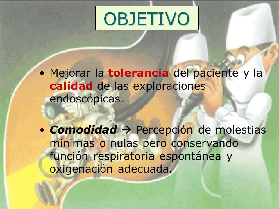 OBJETIVO Mejorar la tolerancia del paciente y la calidad de las exploraciones endoscópicas.