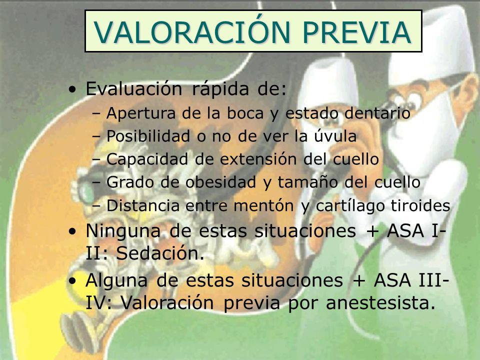 VALORACIÓN PREVIA Evaluación rápida de: