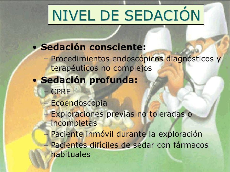 NIVEL DE SEDACIÓN Sedación consciente: Sedación profunda: