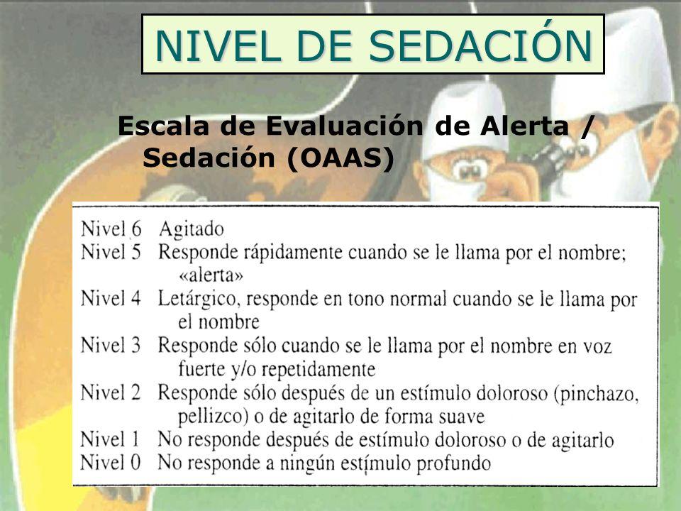 NIVEL DE SEDACIÓN Escala de Evaluación de Alerta / Sedación (OAAS)