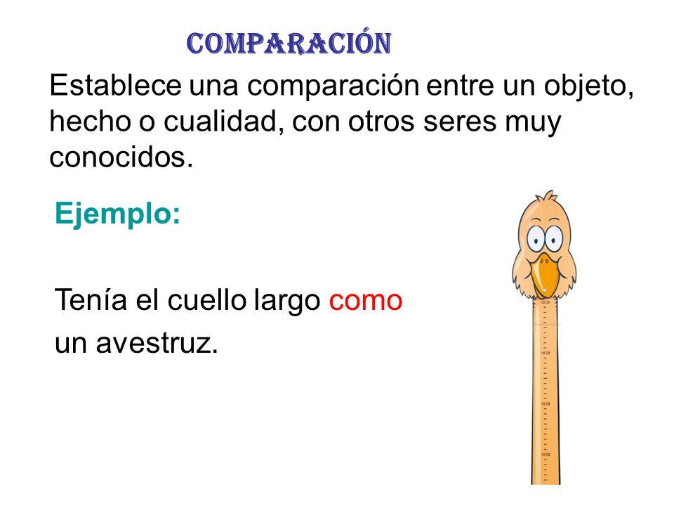 Comparación Establece una comparación entre un objeto, hecho o cualidad, con otros seres muy conocidos.