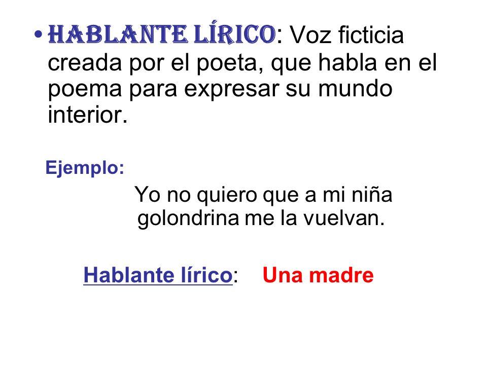 HABLANTE LÍRICO: Voz ficticia creada por el poeta, que habla en el poema para expresar su mundo interior.