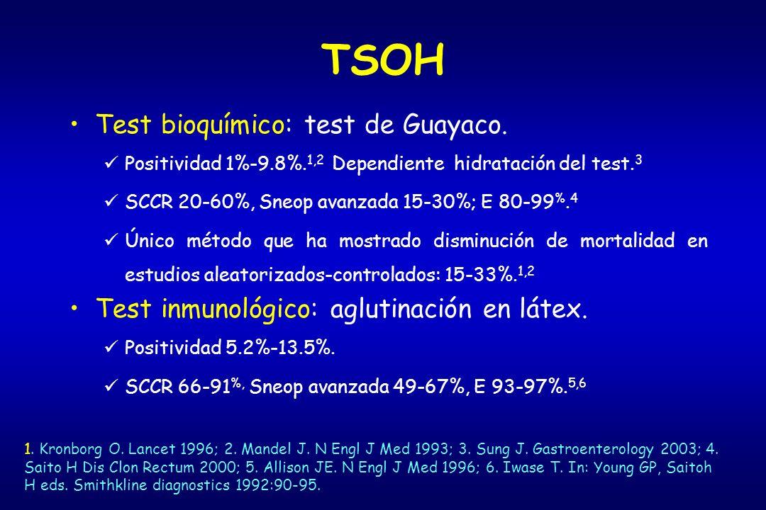 TSOH Test bioquímico: test de Guayaco.