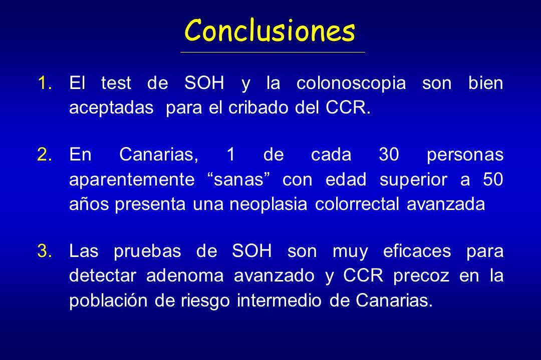 Conclusiones El test de SOH y la colonoscopia son bien aceptadas para el cribado del CCR.