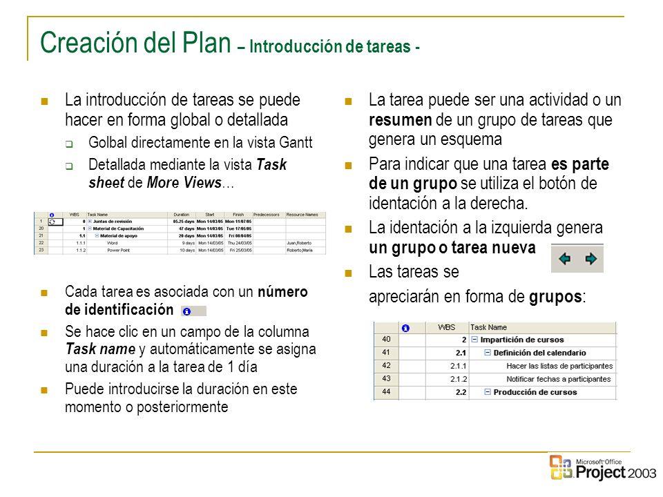 Creación del Plan – Introducción de tareas -