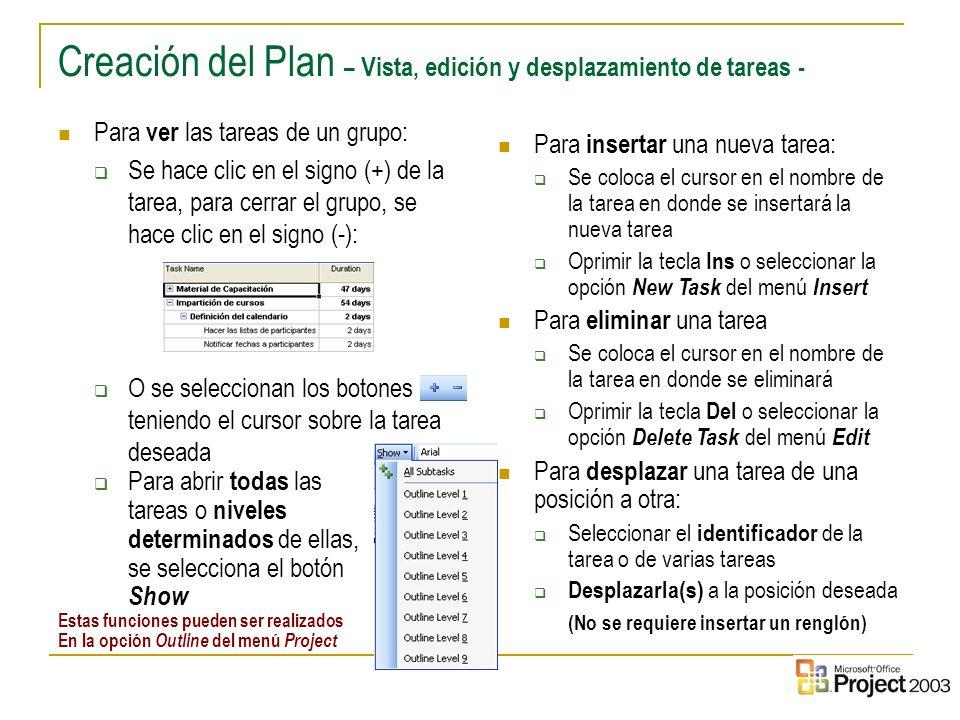Creación del Plan – Vista, edición y desplazamiento de tareas -