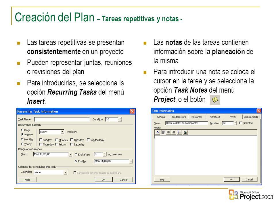Creación del Plan – Tareas repetitivas y notas -