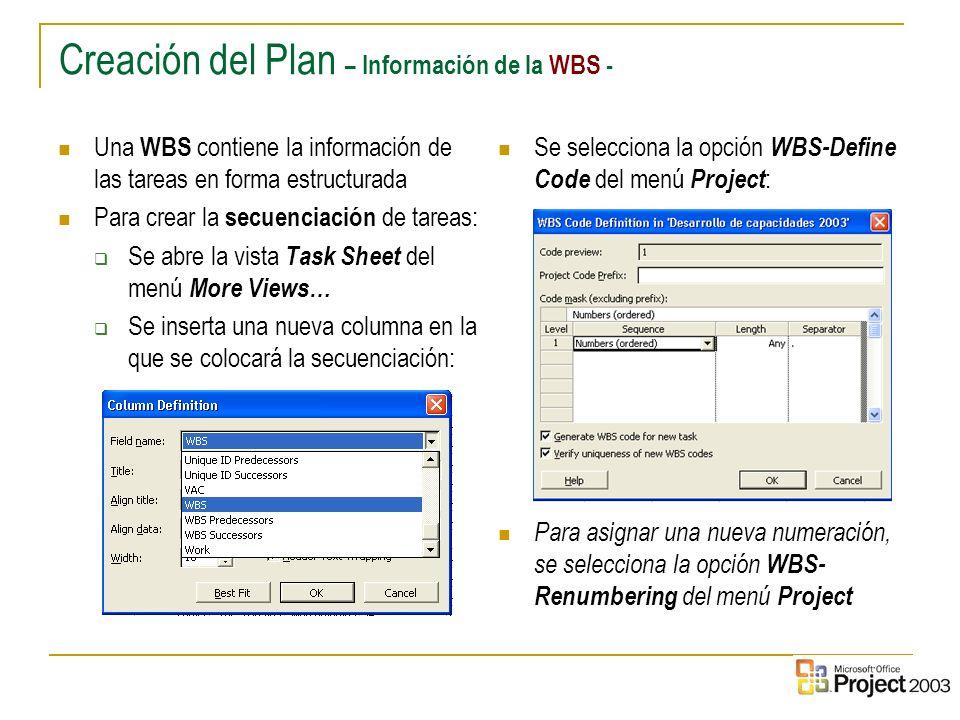 Creación del Plan – Información de la WBS -