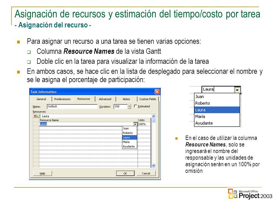 Asignación de recursos y estimación del tiempo/costo por tarea - Asignación del recurso -