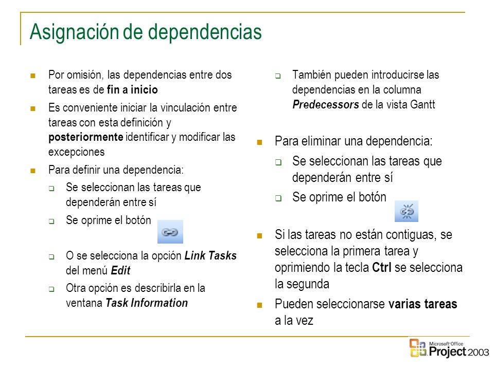 Asignación de dependencias