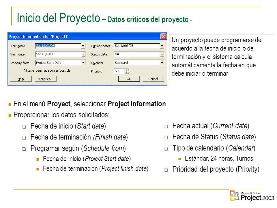 Inicio del Proyecto – Datos críticos del proyecto -