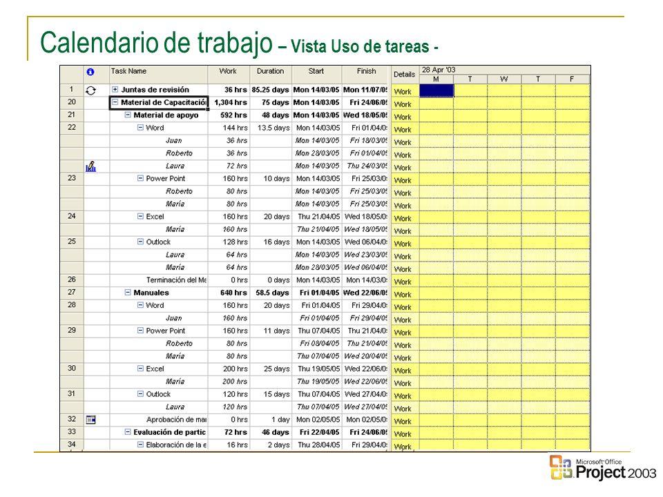 Calendario de trabajo – Vista Uso de tareas -