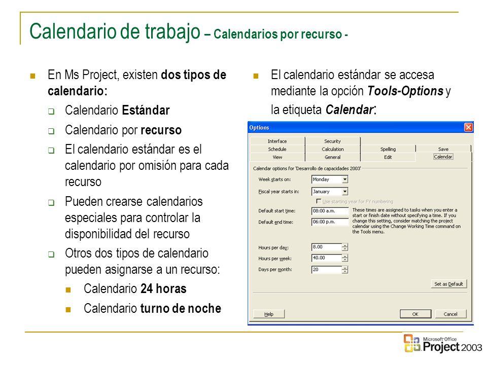 Calendario de trabajo – Calendarios por recurso -