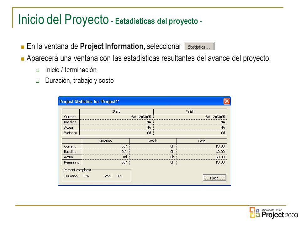 Inicio del Proyecto - Estadísticas del proyecto -
