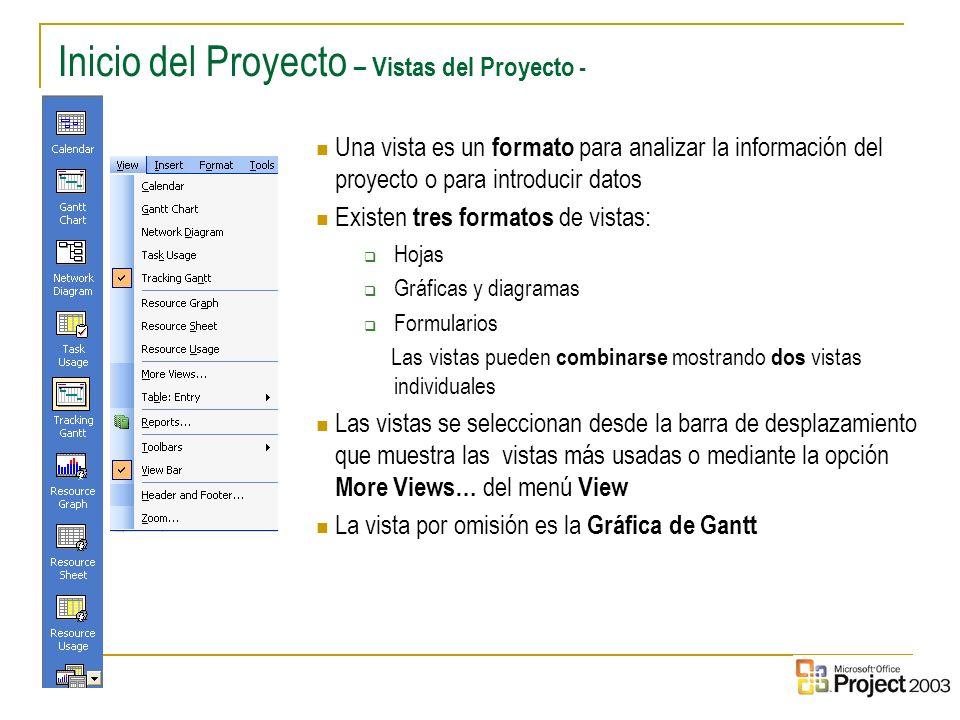 Inicio del Proyecto – Vistas del Proyecto -