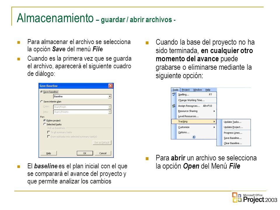 Almacenamiento – guardar / abrir archivos -
