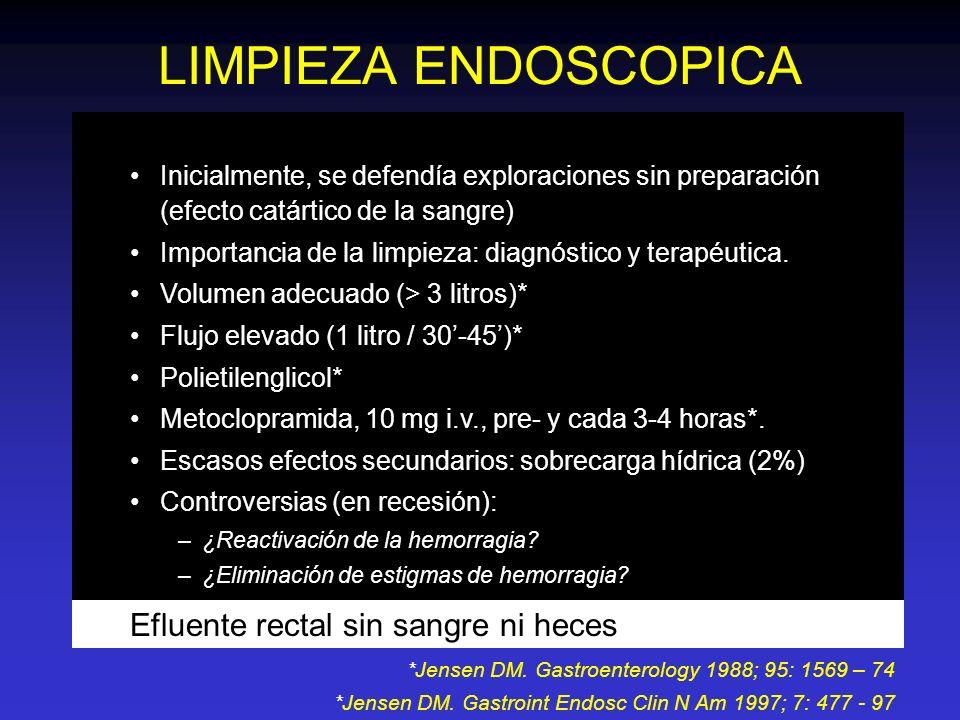 LIMPIEZA ENDOSCOPICA Efluente rectal sin sangre ni heces