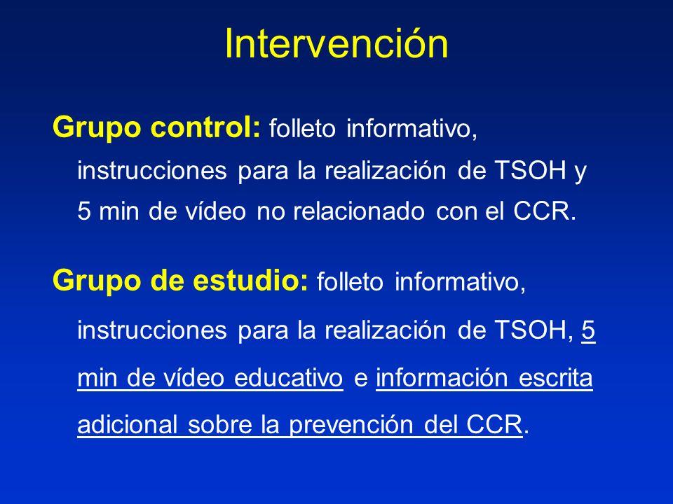 Intervención Grupo control: folleto informativo, instrucciones para la realización de TSOH y 5 min de vídeo no relacionado con el CCR.