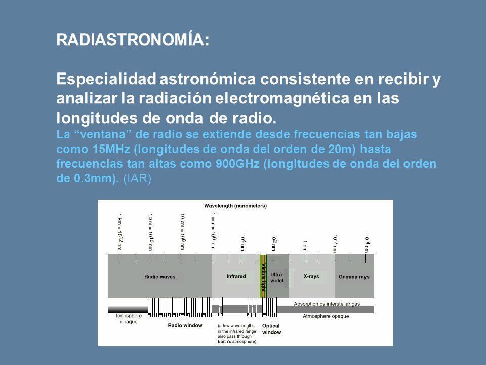 RADIASTRONOMÍA: Especialidad astronómica consistente en recibir y analizar la radiación electromagnética en las longitudes de onda de radio.