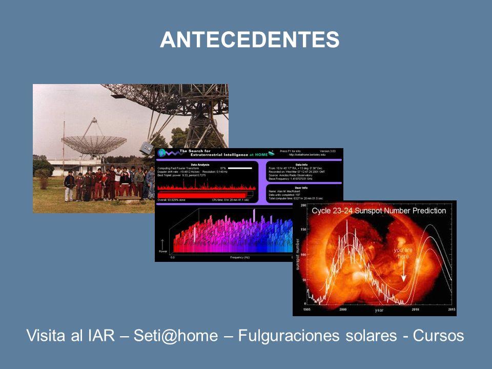 ANTECEDENTES Visita al IAR – Seti@home – Fulguraciones solares - Cursos