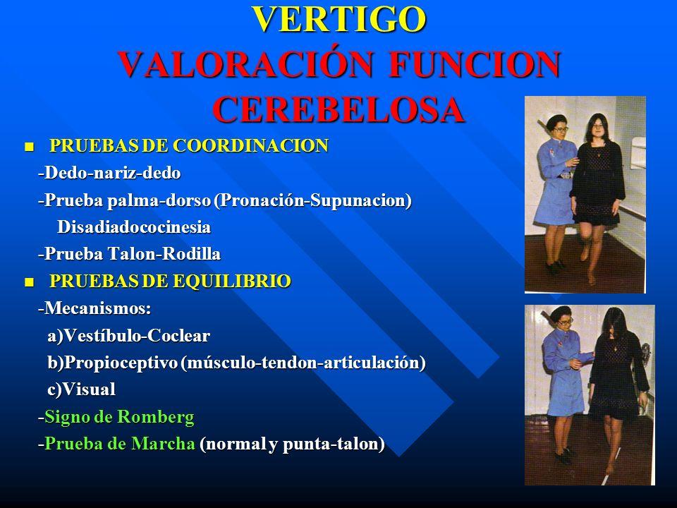 VERTIGO VALORACIÓN FUNCION CEREBELOSA