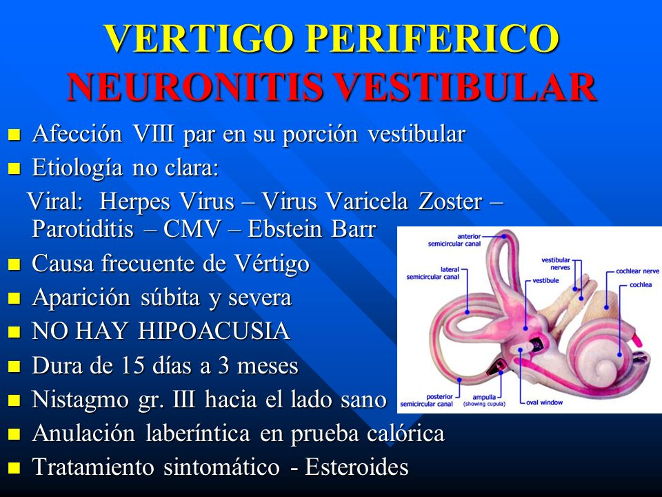 VERTIGO PERIFERICO NEURONITIS VESTIBULAR