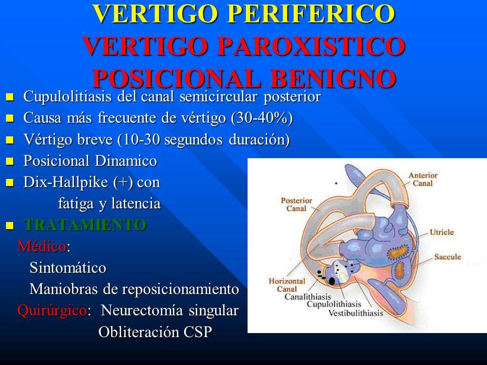 VERTIGO PERIFERICO VERTIGO PAROXISTICO POSICIONAL BENIGNO