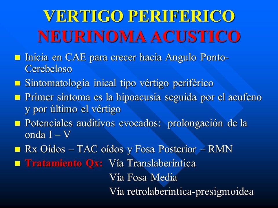 VERTIGO PERIFERICO NEURINOMA ACUSTICO