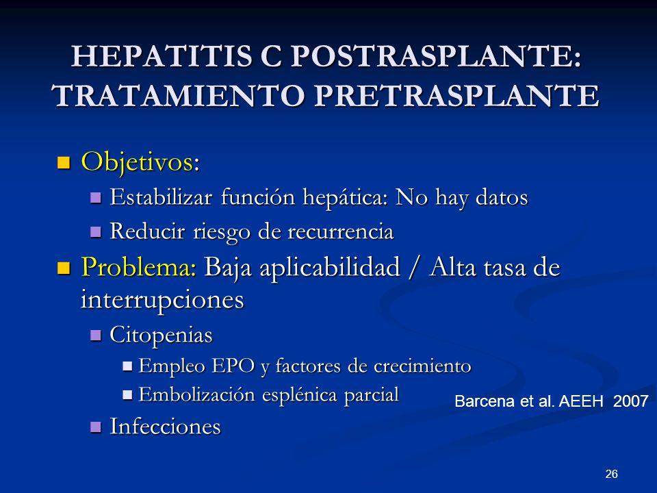 HEPATITIS C POSTRASPLANTE: TRATAMIENTO PRETRASPLANTE