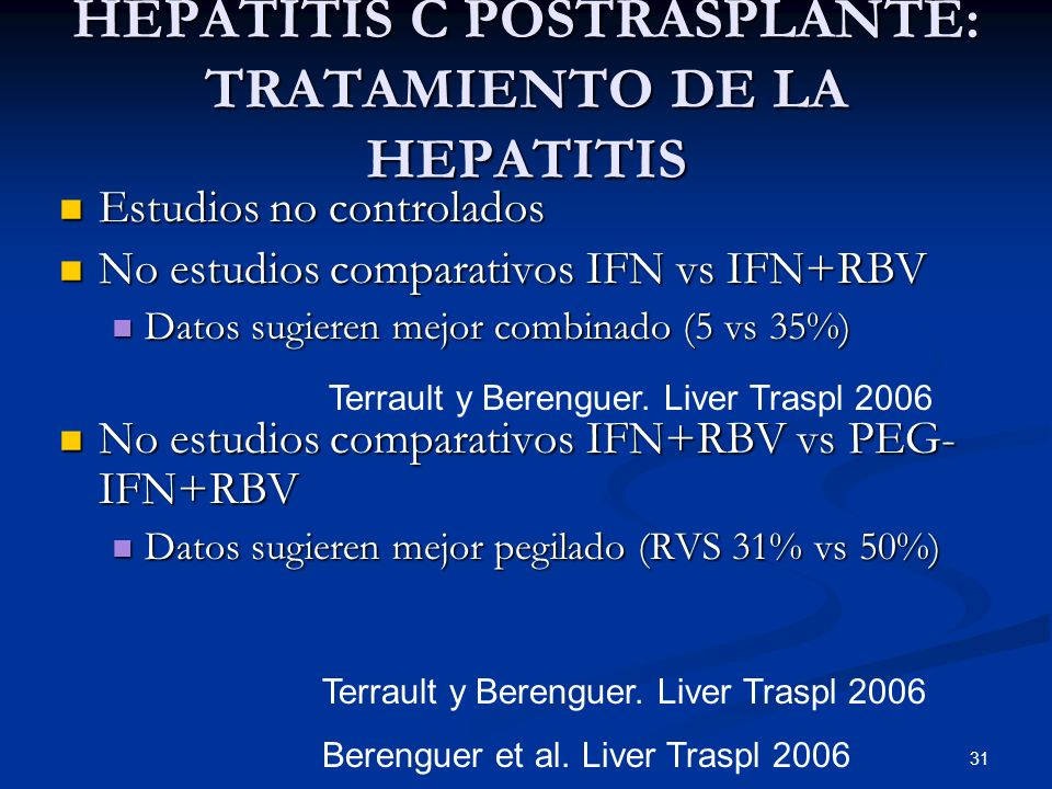 HEPATITIS C POSTRASPLANTE: TRATAMIENTO DE LA HEPATITIS