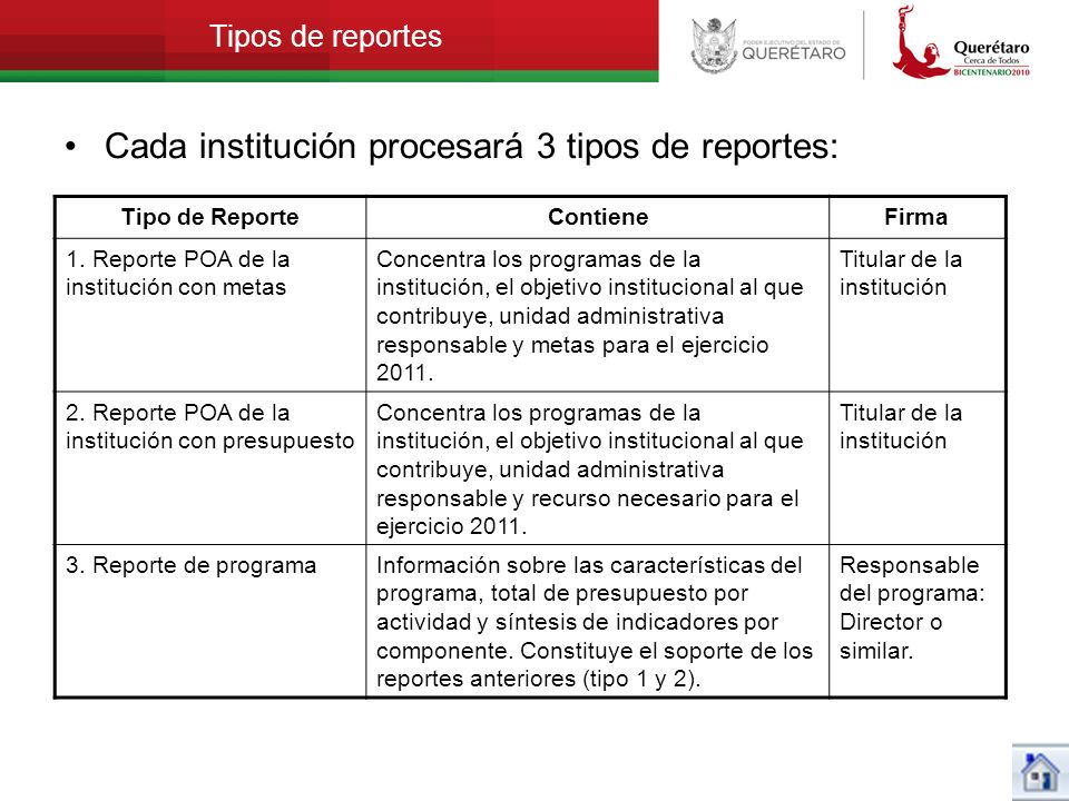 Cada institución procesará 3 tipos de reportes: