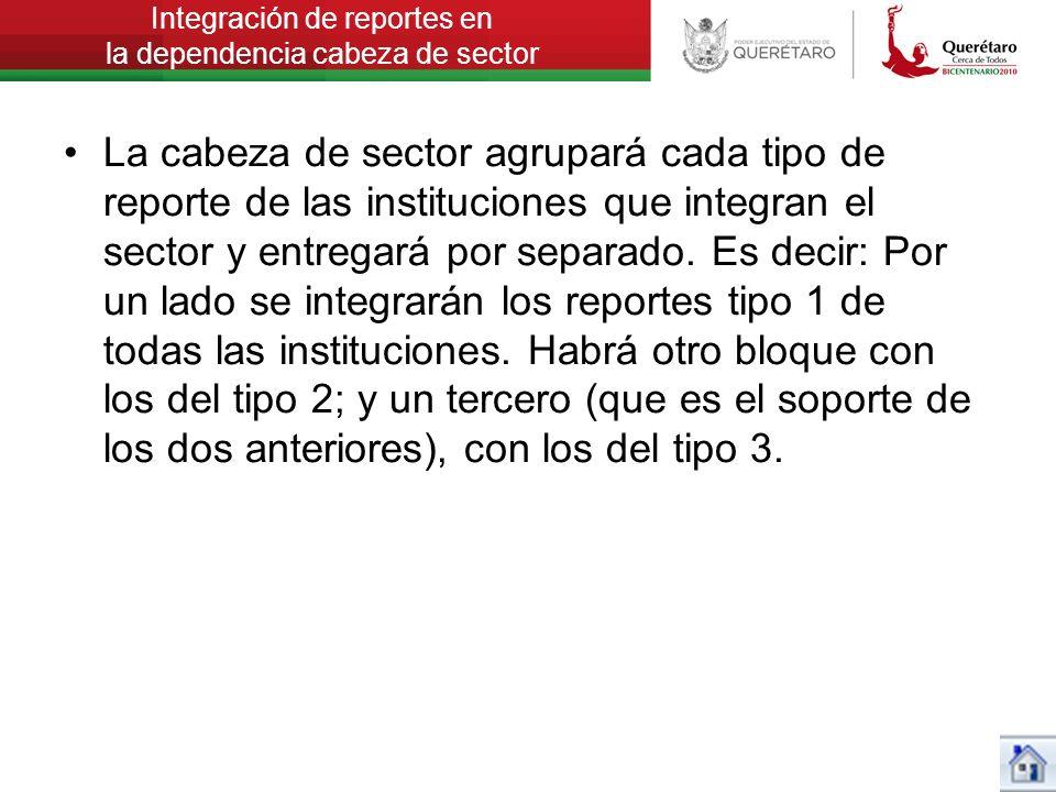 Integración de reportes en la dependencia cabeza de sector