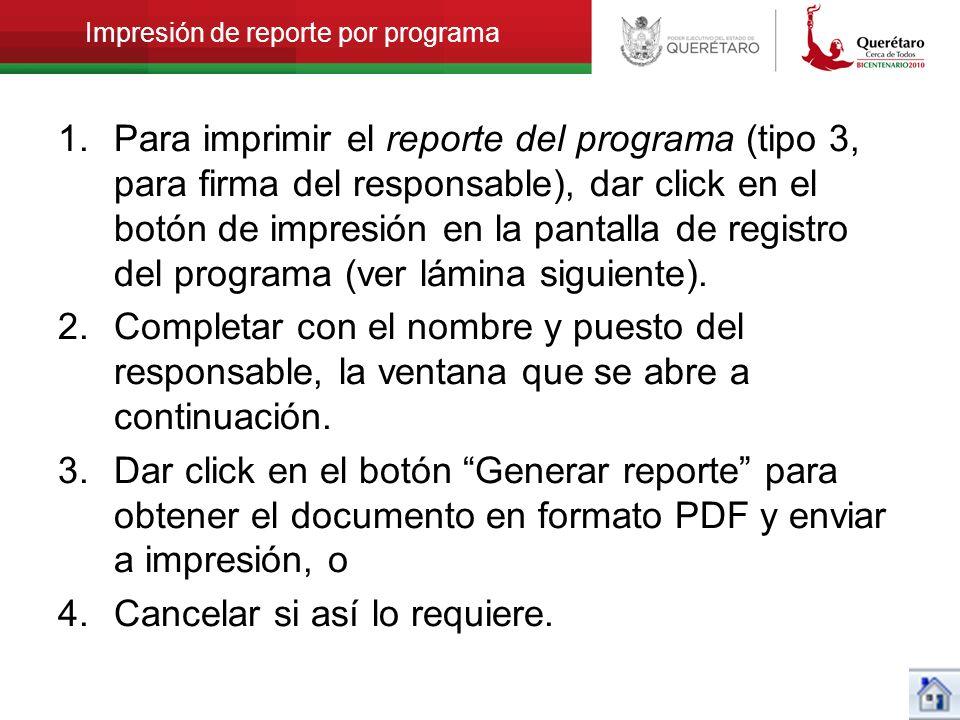 Impresión de reporte por programa