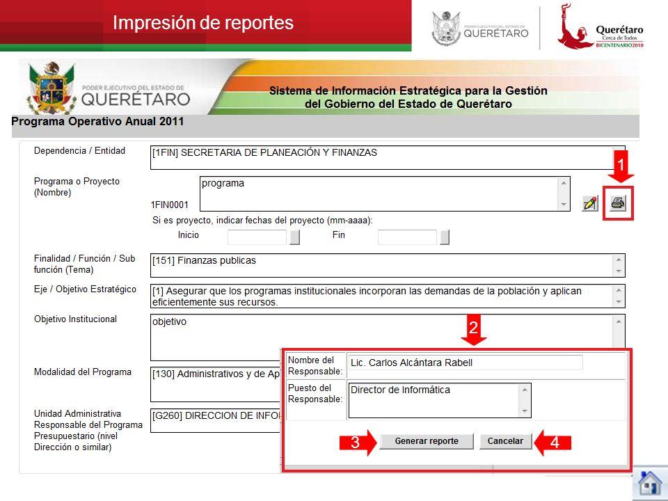 Impresión de reportes 1 2 3 4