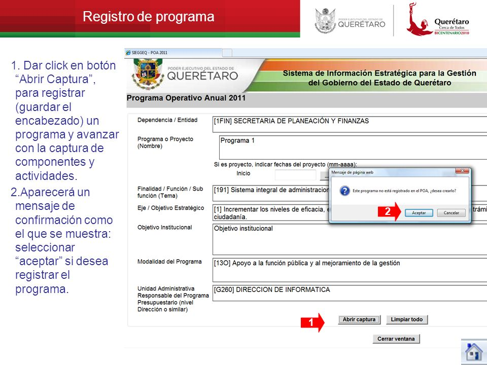 Registro de programa