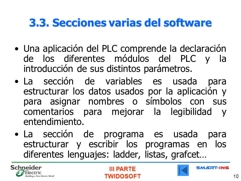 3.3. Secciones varias del software