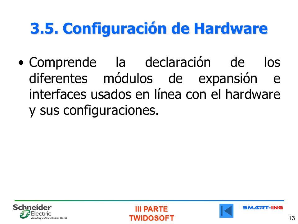 3.5. Configuración de Hardware