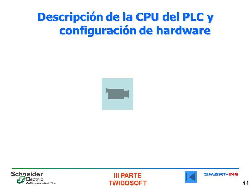 Descripción de la CPU del PLC y configuración de hardware