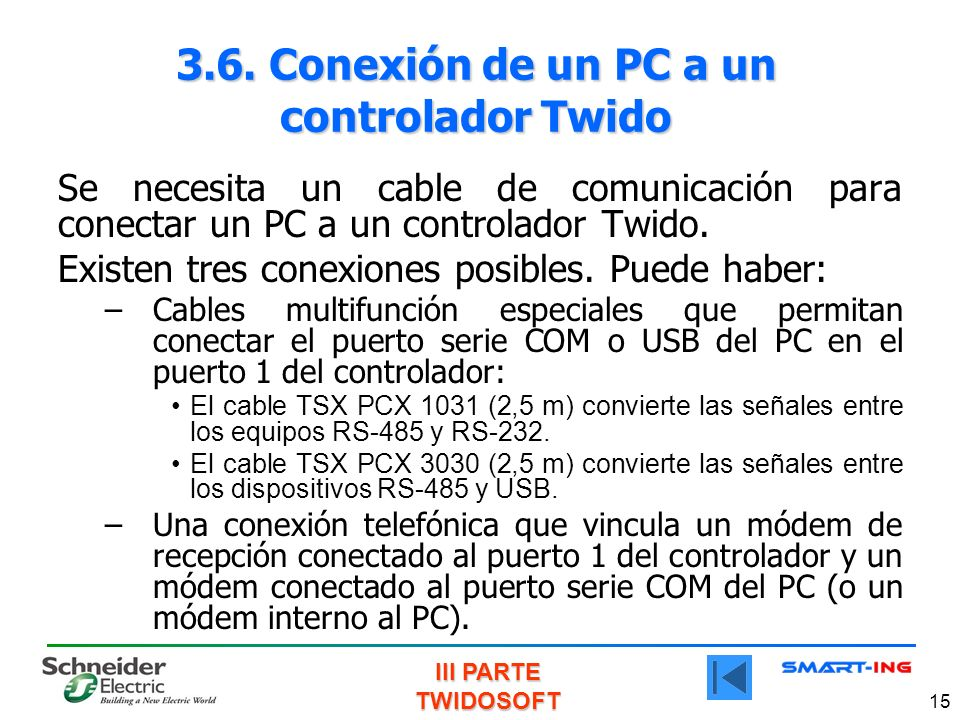 3.6. Conexión de un PC a un controlador Twido