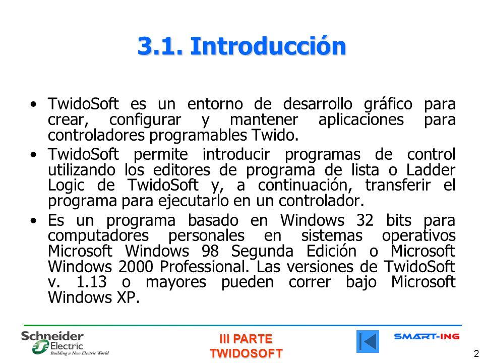 3.1. Introducción TwidoSoft es un entorno de desarrollo gráfico para crear, configurar y mantener aplicaciones para controladores programables Twido.