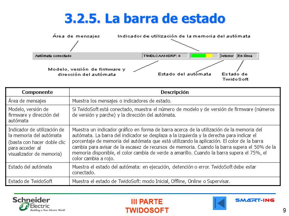 3.2.5. La barra de estado Componente Descripción Área de mensajes