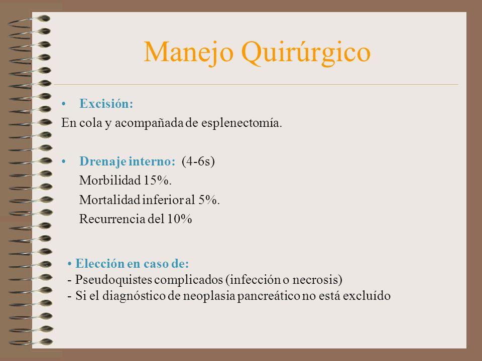 Manejo Quirúrgico Excisión: En cola y acompañada de esplenectomía.